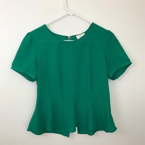 🌻4 for $20-Pins and Needles Green Peplum Top